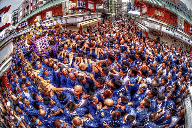 大勢で沸き返る三社祭の神輿[028...