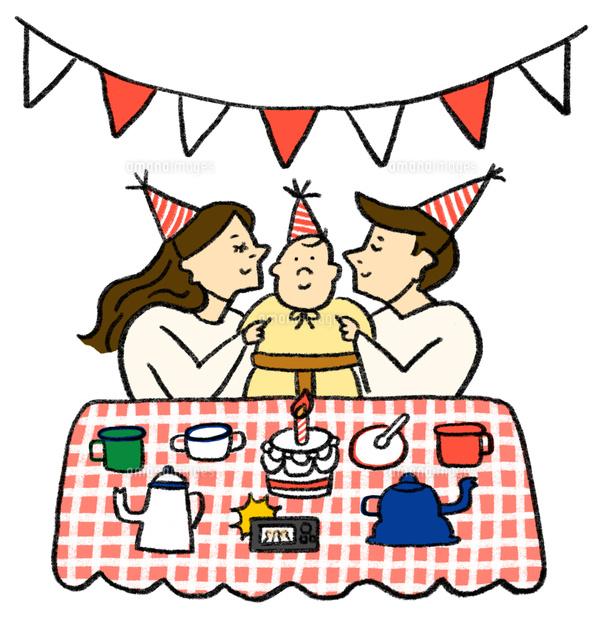 誕生日を祝う若い3人家族02837000119の写真素材イラスト素材アマナ
