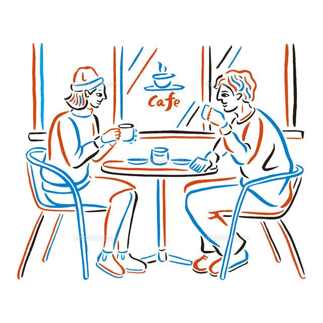 カフェテラスでコーヒーを飲むカップル02837000173の写真素材