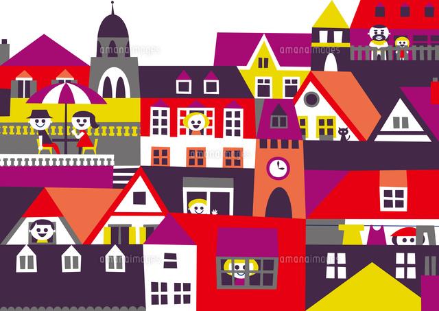 ヨーロッパ風の街並み 家々の窓や屋根や人々02837000353の写真素材