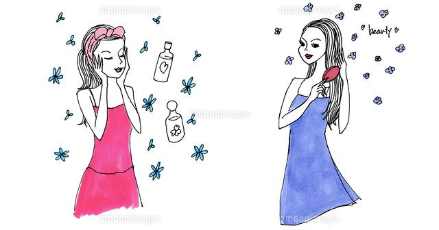 化粧水を付けている女性ヘアブラシで髪をとかしている女性02837000729