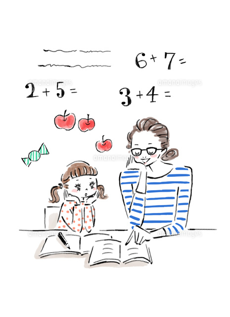 子供の宿題に付き合うお母さん02837000880の写真素材イラスト素材