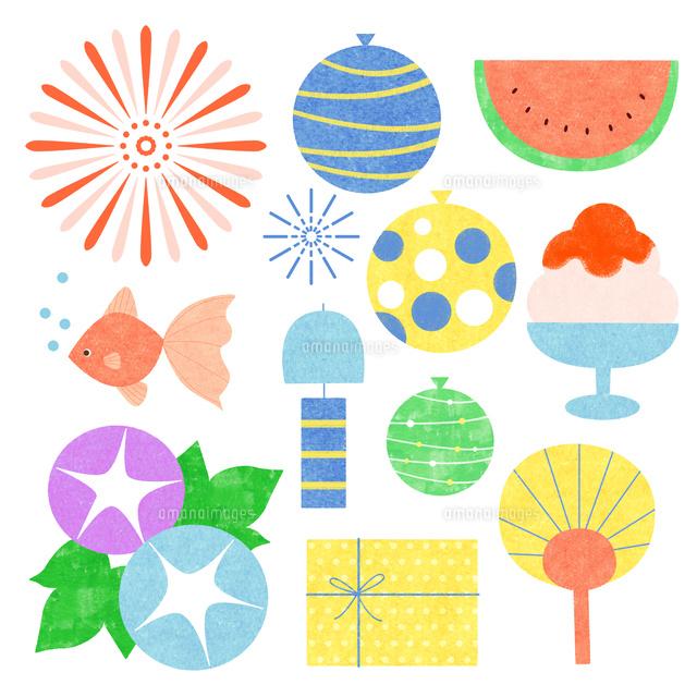 和風の夏のモチーフ02837000885の写真素材イラスト素材アマナ