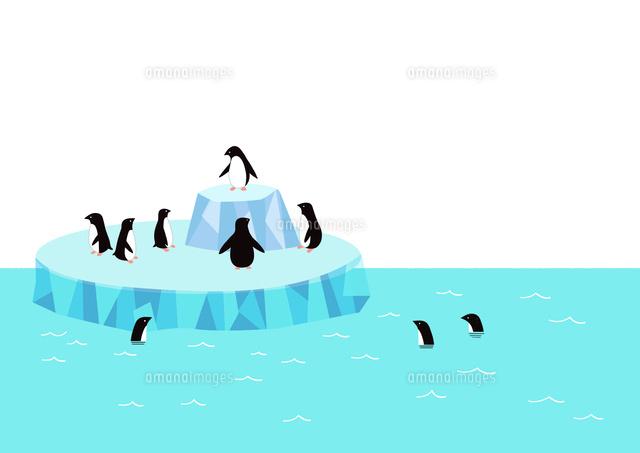 氷の周りに集まるペンギン02837000886の写真素材イラスト素材