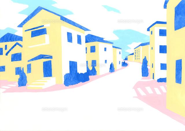 住宅街と空02837000912の写真素材イラスト素材アマナイメージズ