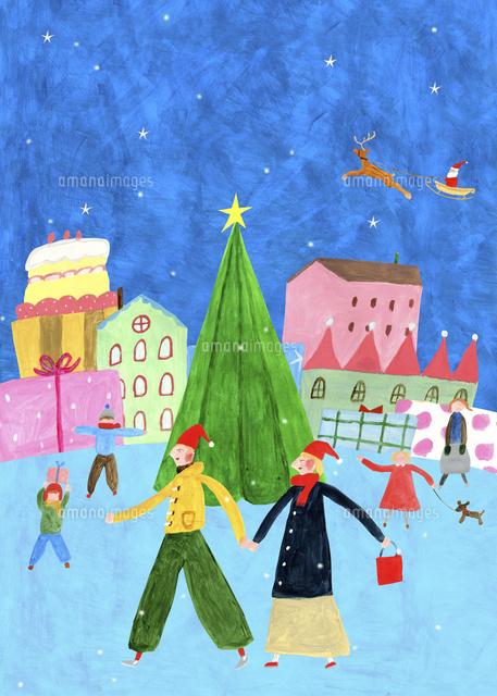 クリスマスの街並み02837001101の写真素材イラスト素材アマナ