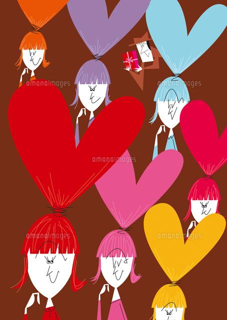 バレンタインを考える女性達02837001106の写真素材イラスト素材
