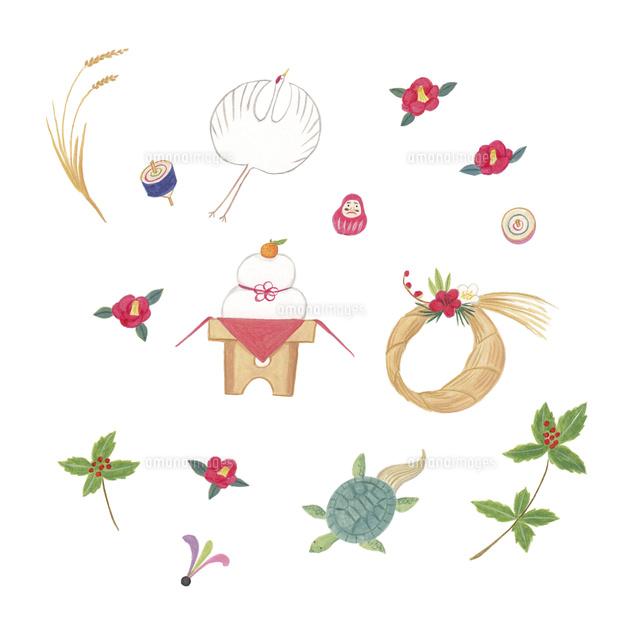 お正月飾りとお正月と冬にまつわるモチーフの集まり02837001180の写真