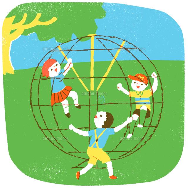 ジャングルジムで遊ぶ子供たち02839000012の写真素材