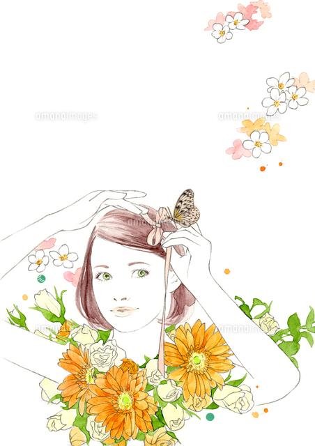 女の子とリボンとオレンジの花02866000036の写真素材イラスト素材