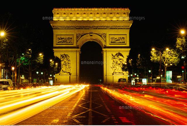 arc de triomphe at night paris 20025004514 写真素材 ストック