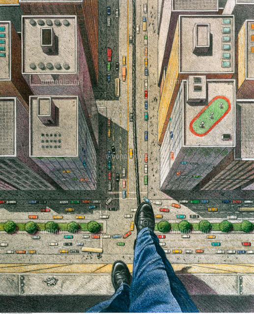 Illustration of Businessman Walking Tightrope over City Stre