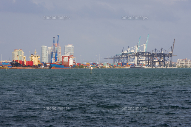 cranes at a commercial dock port of miami dade biscayne bay miami