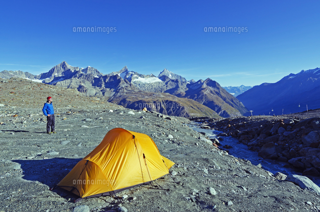 Camping above Zermatt, Valais, Swiss Alps, Switzerland, Europe