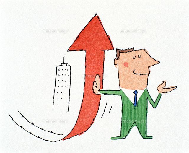 矢印を支える男性20037001040の写真素材イラスト素材アマナイメージズ