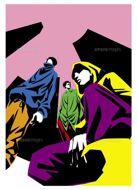 クールなストリート系若者3人20037001842の写真素材イラスト素材