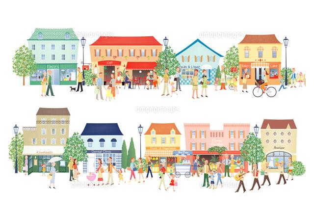 賑やかな町並み20037002554の写真素材イラスト素材アマナイメージズ