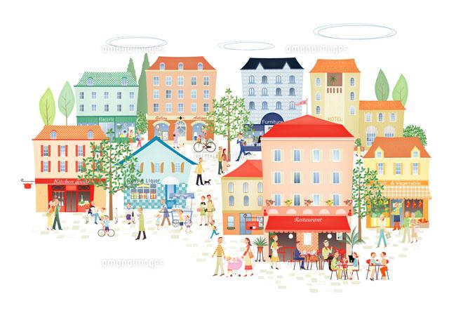 賑やかな町並み20037002555の写真素材イラスト素材アマナイメージズ