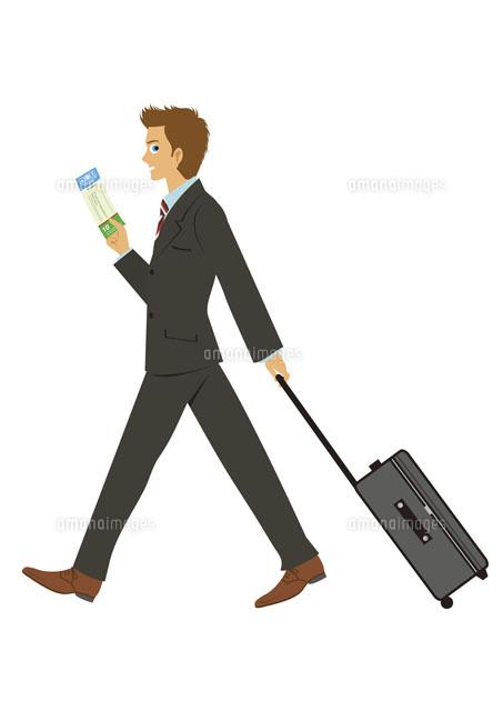 スーツケース片手に歩く男性20037003114の写真素材イラスト素材