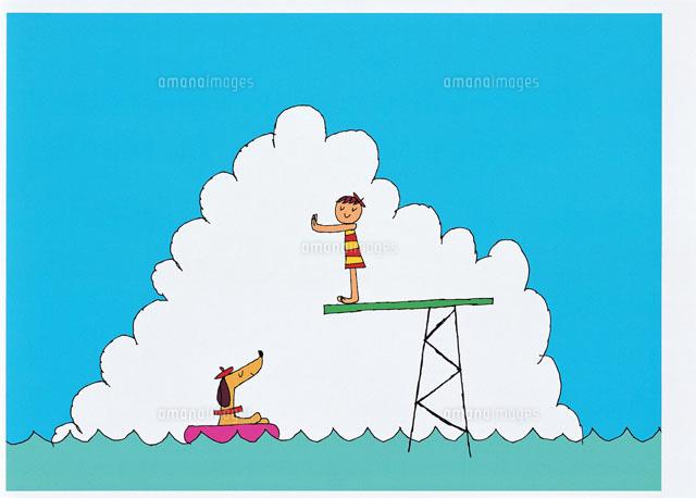海で飛び込みをする子供と犬20037004752の写真素材イラスト素材