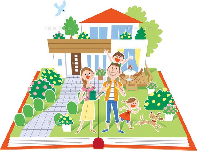 飛び出す絵本の家と家族20037004962の写真素材イラスト素材アマナ