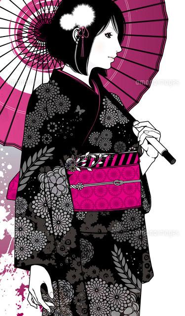 着物の女性20037005178の写真素材イラスト素材アマナイメージズ