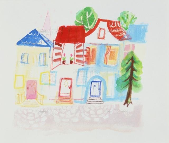 並んで建つかわいい家20037005545の写真素材イラスト素材アマナ
