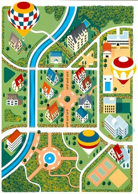緑豊かな街並みの俯瞰地図イラスト20037005551の写真素材イラスト