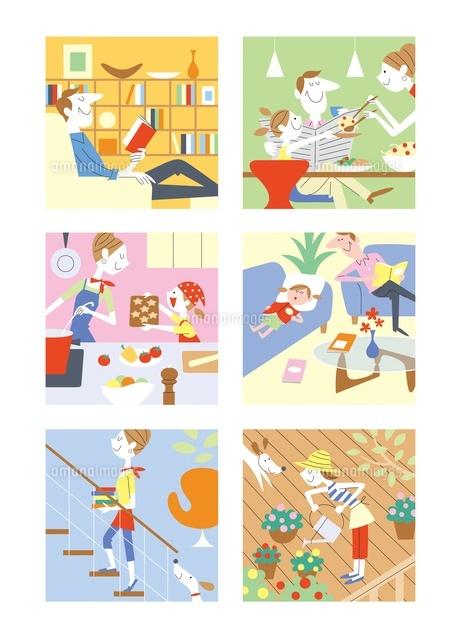 家族のいろいろな生活シーン20037005703の写真素材イラスト素材