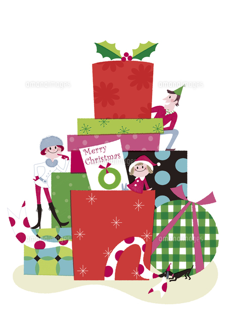 クリスマスのプレゼントボックスと家族20037006874の写真素材