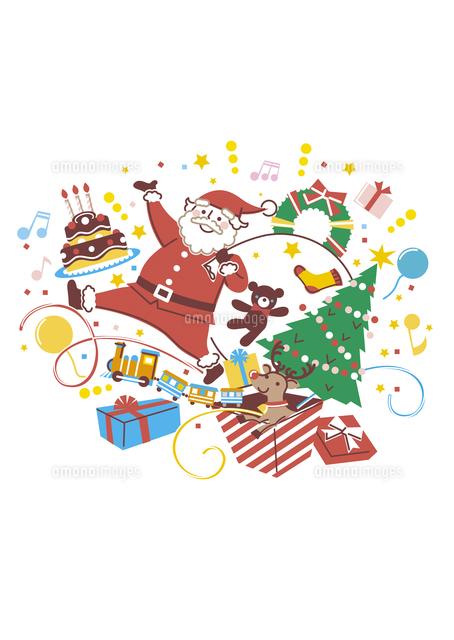 サンタクロースとトナカイクリスマスツリーとプレゼント の写真素材 イラスト素材 アマナイメージズ