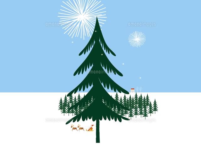 大きなもみの木とトナカイのそりに乗るサンタクロース20037006940の
