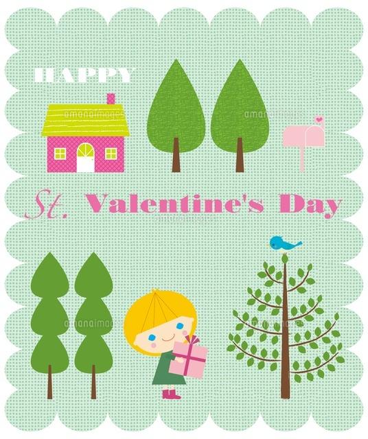 プレゼントボックスを持つ女の子と木と家20037007058の写真素材