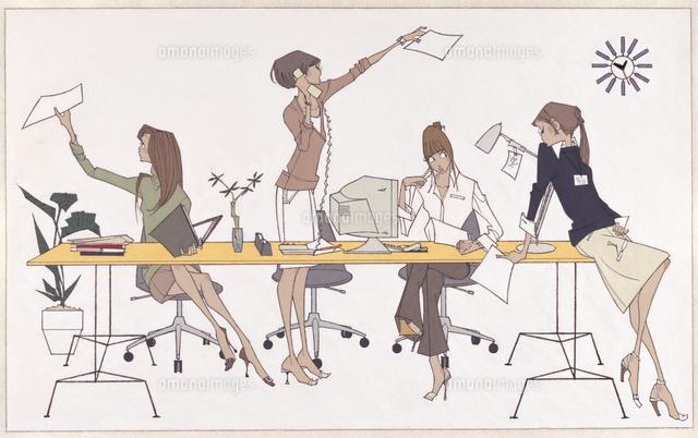 働く女性4人 ビジネスイメージ20037008312の写真素材イラスト素材