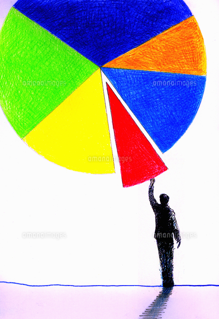 businessman reaching for piece of pie chart 20039005052 写真素材