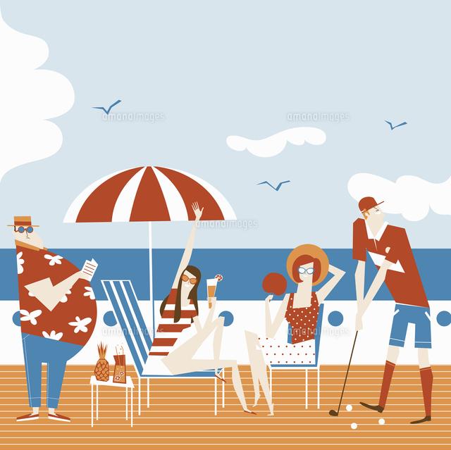 people enjoying relaxing on deck of summer cruise 20039009655