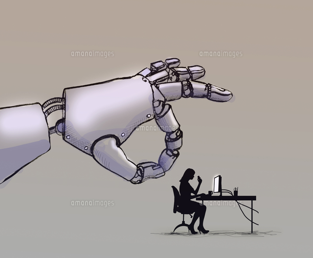 Robotic hand flicking office worker sitting at desk