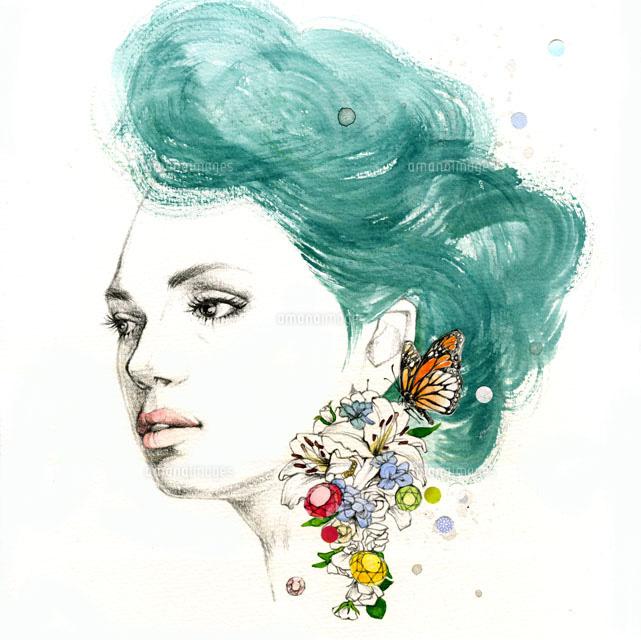 花のピアスの女の子20041000382の写真素材イラスト素材アマナ