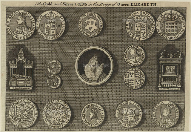 the gold and silver coins in the reign of queen elizabeth