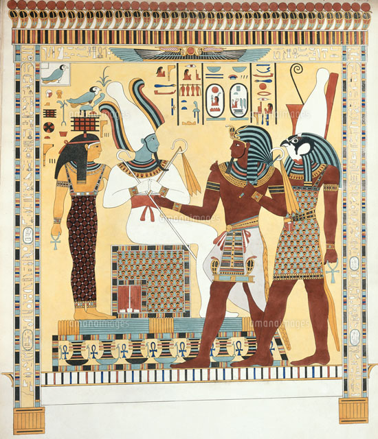 seti i being conducted by horus into the presence of osiris