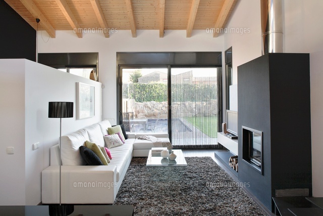 a designer living room with a view of the garden a leather