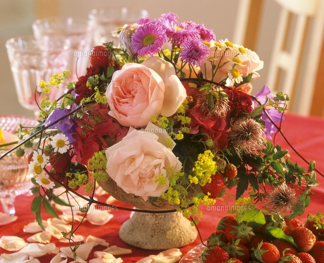 flower arrangement for special occasion with strawberries