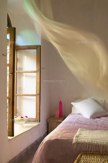 Simple Bedroom   Pink Bedspread On Bed Next To Open Window W (c)Van
