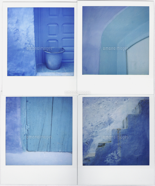 montage of four polaroid images of blue walls doors and steps