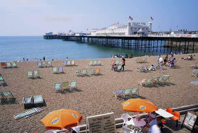 the palace pier and beach brighton sussex england united kingdom