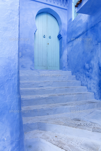 walls and steps in the old town of chefchaouen chaouen the blue