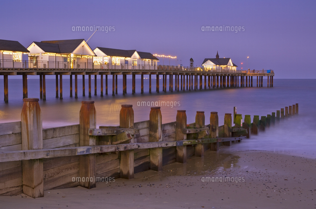 southwold pier and wooden groyne at sunset southwold suffolk