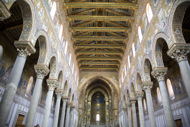 central nave of the cathedral monreale sicily italy europe