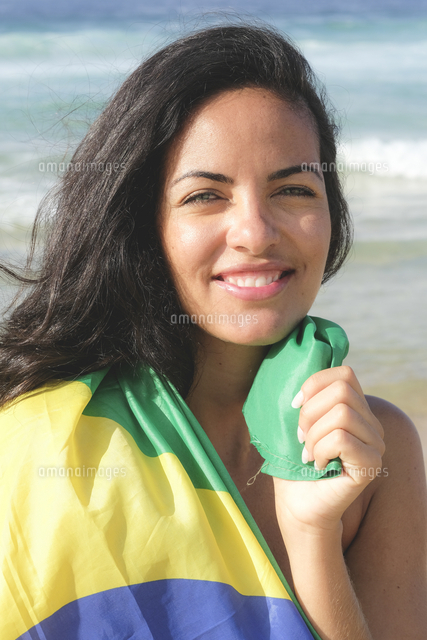 young brazilian woman 20 to 29 years old wrapped in the brazilian