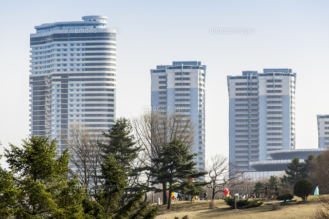modern apartment buildings in the city centre pyongyang democratic